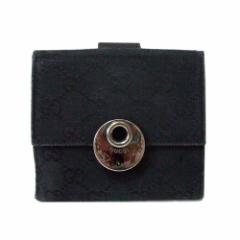 GUCCI グッチ イタリア製 モノグラムレザーウォレット.折財布 (黒 革 皮) 105298