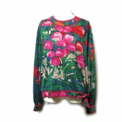 美品 LEONARD レオナール「L」フラワーリボンカットソー (赤 花柄 ロンTシャツ) 105428