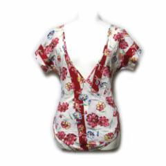 Vintage KENZO ヴィンテージ ケンゾー「M」フラワーカシュクールロンパースカットソー (高田賢三 花柄 Tシャツ) 105729