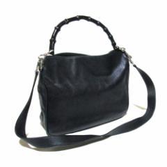 GUCCI グッチ イタリア製 2wayバンブーレザーバッグ (黒 革 皮 ショルダーバッグ ハンドバッグ) 106023