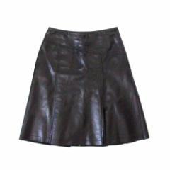 COMME CA DU MODE コムサデモード レザーフレアスカート (黒 革 皮 リアル) 106181