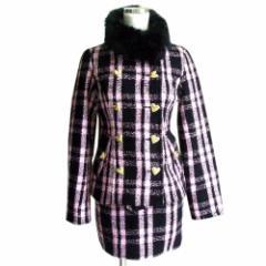 sugar gloss シュガーグロス タータンチェックセットアップスーツ (ピンク ラビットファー 毛皮 金ボタン スカート) 106439