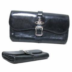 廃盤 Vivienne Westwood ヴィヴィアンウエストウッド ベルトレザーロングウォレット (黒 革 皮 長財布) 108327