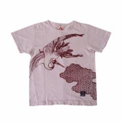 CHIKIRIYA ちきりや 鶴 染み込みプリントTシャツ (パープル 紫 半袖 ツル 和柄) 108822