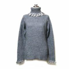 美品 LES HALLES レアール イタリア製 リアルファーハイネックニットセーター (毛皮 ローゲージ) 108930