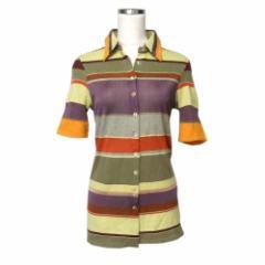 美品 MIA ZIA ミアジア マルチボーダーポロシャツ (切替 半袖 カットソー) 109425