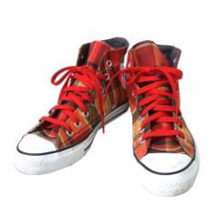 美品 converse コンバース タータンチェックハイカットオールスタースニーカー  (ALL STAR シューズ 靴) 109427