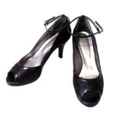 美品 WASHINGTON GINZA ワシントン 銀座 レザーヒールサンダル (黒 靴 皮 日本製 Made in Japan ギンザ) 109431