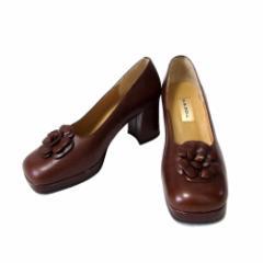 B.B.DOLL ビービードール コサージュレザーヒールパンプス (靴 シューズ 皮 革 ヒール 厚底) 109452