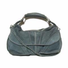 CoSTUME NATIONAL コスチューム ナショナル イタリア製 スエードレザーバッグ (ブルーグレー 革 皮 鞄) 110162