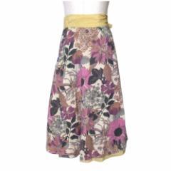 美品 FELTRINE フェルトリーネ フラワーパターン巻スカート (花柄 ラップスカート) 110696