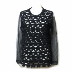 COMME des GARCONS コムデギャルソン「XS」2011 動揺期 シースルー×ニットカットソー (黒 半袖 Tシャツ Boulevers?) 110713
