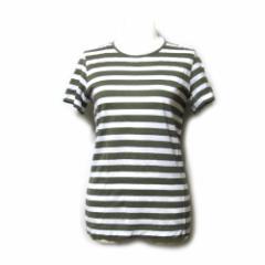 美品 tricot COMME des GARCONS トリコ コムデギャルソン「S」2009 ボーダーTシャツ (カーキ 白 半袖) 111052