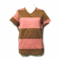 美品 COMME des GARCONS コムデギャルソン 1995 切替ボーダーTシャツ (ピンク 茶色 半袖) 111883