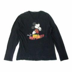Disney ディズニー クラシックミッキーマウスロンTシャツ (黒 長袖 マイク) 111927