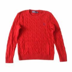 POLO RALPH LAUREN ポロ ラルフローレン 定番ワンポイントケーブルニットセーター (赤) 112195