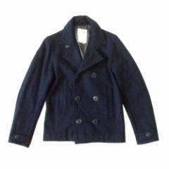 美品 HOUSTON ヒューストン ミリタリーピーコート (P-コート ジャケット 紺 ネイビー アーミー ARMY) 112208