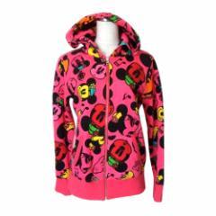 美品 Disney ディズニー ミニーマウスモノグラムパーカー (ピンク ミニーマウス フルジップ ジャケット) 112217