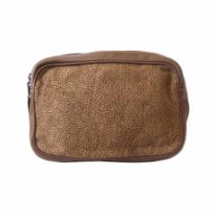美品 Borbonese ボルボネーゼ  イタリア製 バーズアイレザーセカンドバッグ (クラッチバッグ ポーチ) 112234