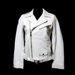 ANNETT OLIVIERI アネットオリビエリ「S」シープスキンレザーライダースジャケット (白 皮 革 イギリス 英国 革ジャン) 112455