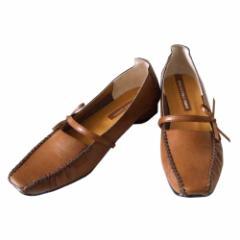 美品 anna collection  アンナコレクション クラシックリボンパンプス (茶色 靴 シューズ) 113239