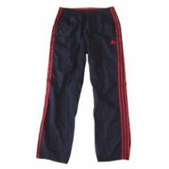 adidas アディダス ナイロンラインパンツ (紺 ネイビー 赤 3本線 スポーツ) 114151