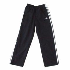 adidas アディダス ナイロンラインパンツ (黒 ブラック 白 3本線 スポーツ) 114154