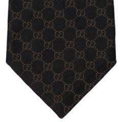 グッチ ネクタイ メンズ 結婚式 ブランド 黒 シルク プレゼント ビジネス フォーマル 新品 GUCCI 152950 GGパターン ブラック地ブラウン