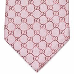 グッチ ネクタイ メンズ 結婚式 ブランド シルク プレゼント ピンク ビジネス フォーマル 新品 GUCCI GGパターン シルク ライトピンク