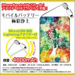 モバイルバッテリー 4600mAh iPhone android 対応 microUSB Lightning アダプター付 F:chocaloデザイン 極彩浄土/送料無料