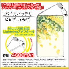 モバイルバッテリー 4600mAh iPhone android 対応 microUSB Lightning アダプター付 F:chocaloデザイン ピヨザ(ミモザ)/送料無料