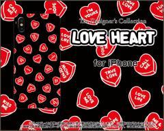 iPhone X 8/8Plus 7/7Plus SE 6/6s 6Plus/6sPlus ハード スマホ カバー ケース LOVE HEART(ブラック・ランダム) /送料無料
