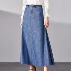 e3778da8b51631 デニムスカート 大きいサイズ ロング デニム ロングスカート フレア ゆったり フレアスカート ハイウエスト デニム レディース