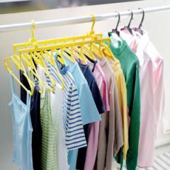 洗濯ハンガー 黄色いハンガーダブルフック 10連式 ( 物干し 洗濯物干し 物干しハンガー )