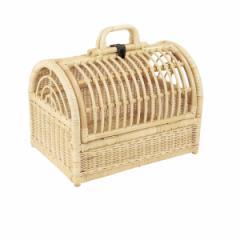 籐 ペット用バスケット キャリーケース ラタン製 幅41cm ( キャリーバッグ )