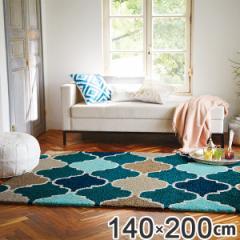 ラグ 約1.5畳 140×200cm 防ダニ 防炎 床暖 ホットカーペット対応 ブルー モロッカン柄 ( じゅうたん 絨毯 )