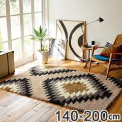 ラグ 約1.5畳 140×200cm 防ダニ 床暖 ホットカーペット対応 オルテガ柄 ( じゅうたん 絨毯 )