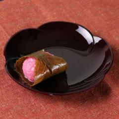 銘々皿 梅型 溜 深型 漆器 和菓子 皿 食器 日本製