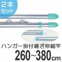 物干し竿 きらきらポール 継ぎ伸縮竿 ハンガー掛け付き 2.6〜3.8m 2本セット ( ステンレス )