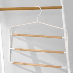 ハンガー スラックスハンガー 3段 アルベロ ( 衣類 収納 衣類収納 ステンレス 白 ホワイト 木 ボトムスハンガー ハンガー スカート スラ