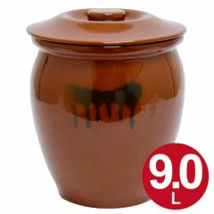 漬物容器 丸かめ 5号 9L 蓋付き 陶器 ( 漬け物容器 )