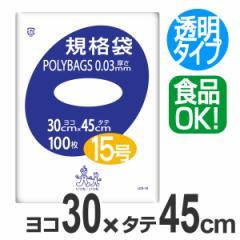 ポリ袋 規格袋 15号 100枚 透明