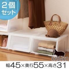 収納ボックス 前開き カバクロ 幅45×奥行55×高さ31cm プラスチック 2個セット