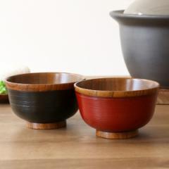汁椀 木製 310ml 刷毛目椀 漆 天然木 食器