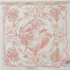 サルヴァトーレ・フェラガモ シルク ミニスカーフ ホワイト 中古 Aランク SALVATORE FERRAGAMO   レディース  首飾り 胸元 防寒