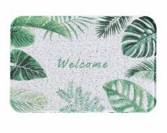 【お取り寄せ】玄関マット 屋外用 グリーンリーフ 南国風 英文字 (ウェルカム)