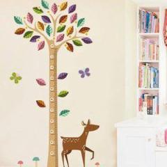 ウォールステッカー 小鹿 カラフルな葉っぱの木 身長測定