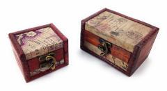 小物入れ アンティーク風 木製 宝箱型  大小 2個セット