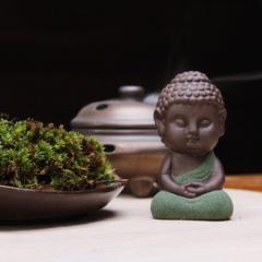 【お取り寄せ】置物 茶玩 紫砂 瞑想するかわいい仏像 陶器製 (座禅B)