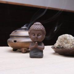 置物 茶玩 紫砂 瞑想するかわいい仏像 陶器製 (正座)